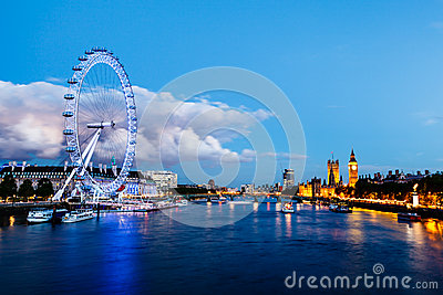 London Eye, Westminster Bridge and Big Ben Editorial Stock Photo
