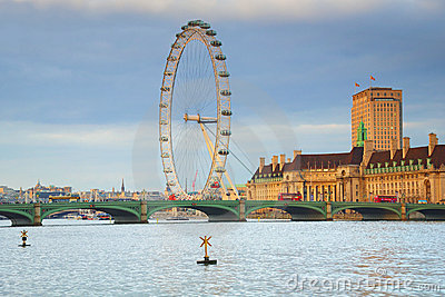 London Eye & Westminster bridge in London Editorial Image