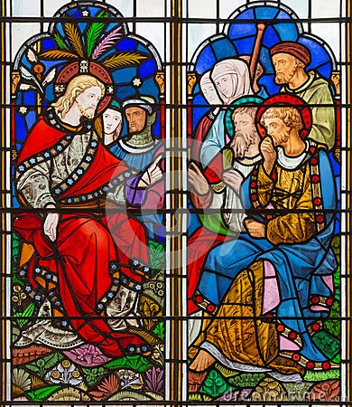 Free LONDON, GREAT BRITAIN - SEPTEMBER 14, 2017: The Teaching Of Jesus On The Stained Glass In The Church St. Michael Cornhill Stock Images - 101275224