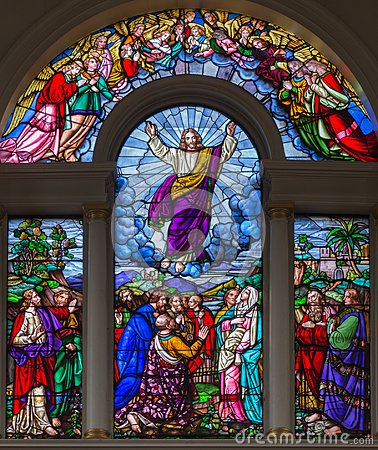 Free LONDON, GREAT BRITAIN - SEPTEMBER 15, 2017: The Ascension Of The Lord On The Satined Glass Of St James`s Church Royalty Free Stock Photo - 108028285