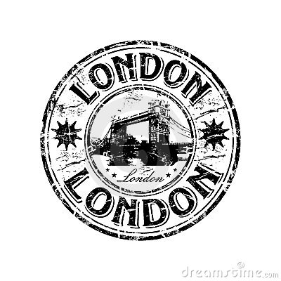 London grunge rubber stamp