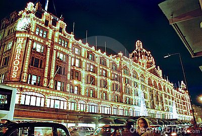London, Harrods at night in Christmas Editorial Photo
