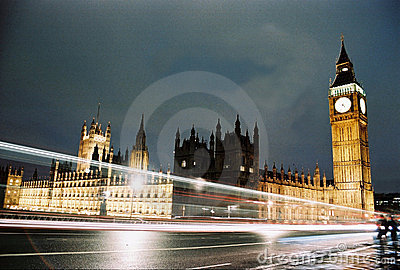 London, Houses of Parliament at night