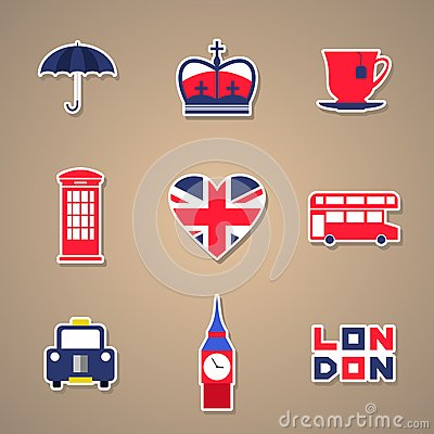 London Icons set Stickers. Vector illustration. Vector Illustration