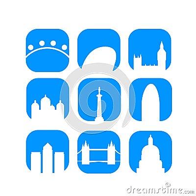 London landmarks icons vector