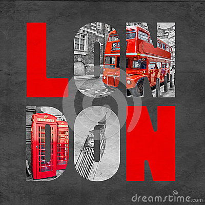 Free London Letters With Images On Textured Black Background Royalty Free Stock Images - 48555649