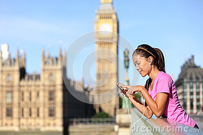London lifestyle woman listening to music, Big Ben