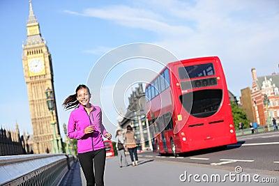 London lifestyle woman running near Big Ben