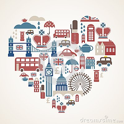 Free London Love - Heart With Many Vector Icons Stock Photos - 25063533
