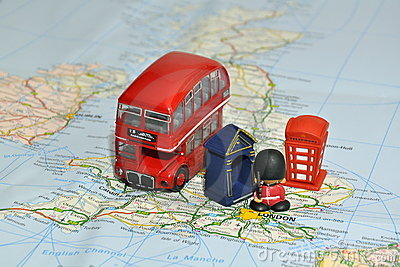 London on map of England with miniature souvenirs