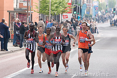 London Marathon 2011- Top 10 Elite Men Royalty Free Stock Images - Image: 19194379