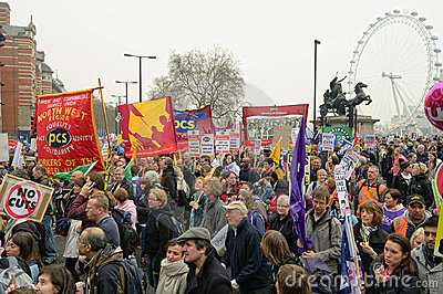 LONDON - MARCH 26: Protesters march against public expenditure cuts in a rally -- March for the Alternative -- organised by the Tr Editorial Photography