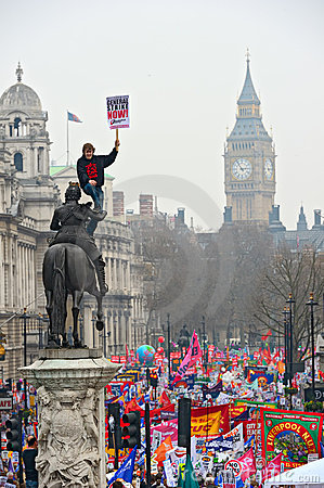 LONDON - MARCH 26: Protesters march down Whitehall against public expenditure cuts in a rally -- March for the Alternative -- orga Editorial Stock Photo