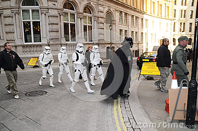 Darth Vader And Stormtroopers Out And About In Londons Trafalgar Editorial Stock Image