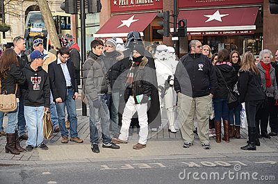 Darth Vader And Stormtroopers Out And About In Londons Trafalgar Editorial Photography