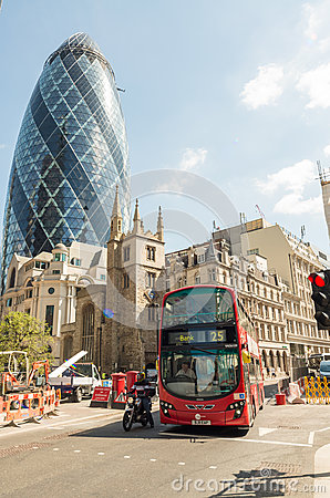 Free LONDON - MAY 10, 2015. Double Decker Bus In City Business Distri Royalty Free Stock Photos - 65235728