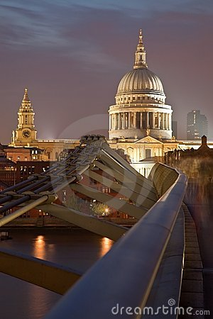London Millennium bridge and St Paul Cathedral Editorial Stock Image