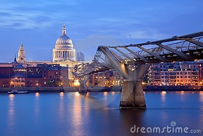 London Millennium bridge and St Paul Cathedral Editorial Photo