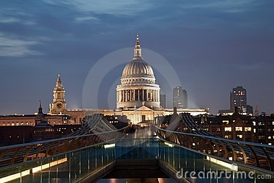 London Millennium bridge and St Paul Cathedral Editorial Photography