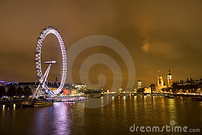 London Millennium Eye and big Benat night Editorial Photo