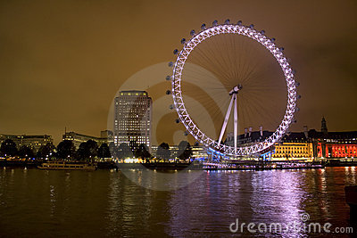 London Millennium Eye at night Editorial Stock Image