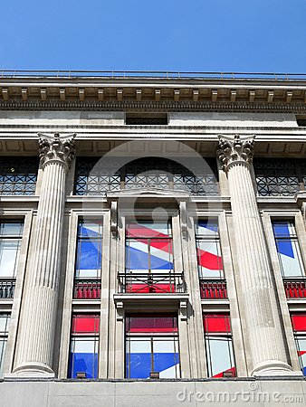 London: neoclassical building with Union Jack flag