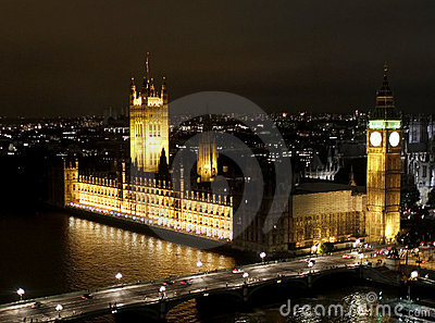 London night scene, Big Ben and Westminster Abbey