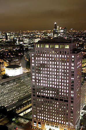 London night scene, Canary Wharf office buildings