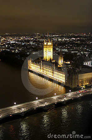 London night scene with Westminster Abbey