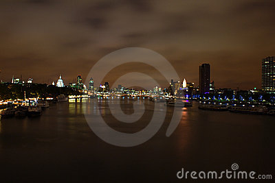 London night view of the thames