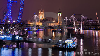 London Nightscape Editorial Stock Image