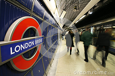 Inside view of London Underground Editorial Stock Image