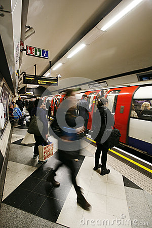 Inside view of London Underground Editorial Photo