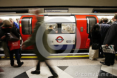 Inside view of London Underground Editorial Photography