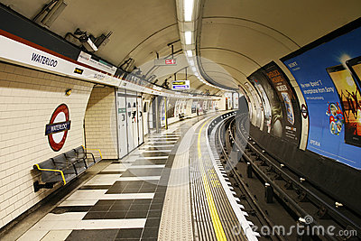 Inside view of London Underground Editorial Stock Photo