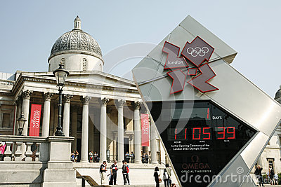 London Olympic Countdown Clock Shows One day to Go Editorial Photo