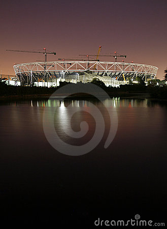 London Olympic Stadium Construction Site at Night. Editorial Photography