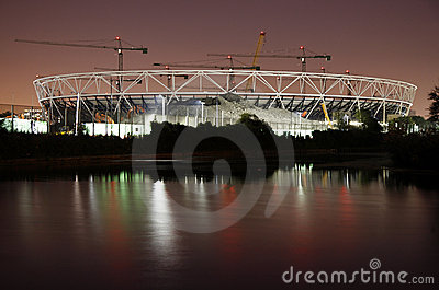 London Olympic Stadium Construction Site at Night. Editorial Photo