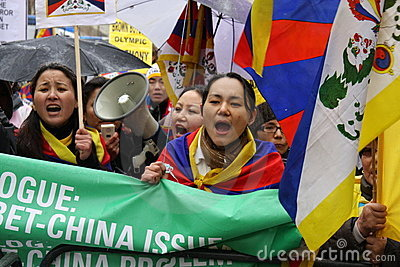 London Olympic Torch Parade; Free Tibet 2! Editorial Stock Image