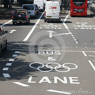 London Olympic traffic restriction lane Editorial Photo