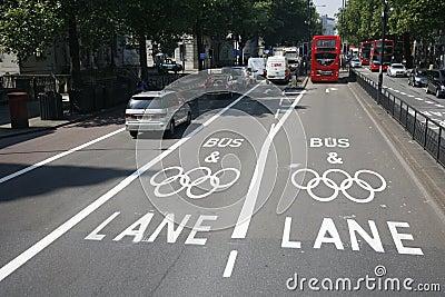 London Olympic traffic restriction lane Editorial Stock Image