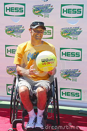 2012 London Paralympics wheelchair quad champion David Wagner from USA attends Arthur Ashe Kids Day 2013 Editorial Photo