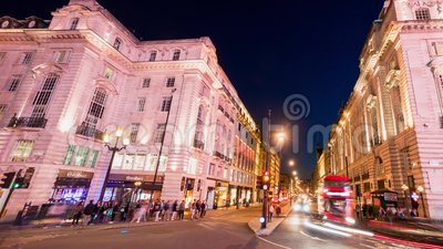 London Piccadilly Timelpase. Regent Street St Jame's. Crossroad of Piccadilly and Regent Street St Jame's in London. Busy people and traffic with many stock footage
