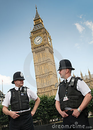 London policemen against Big Ben Editorial Photography