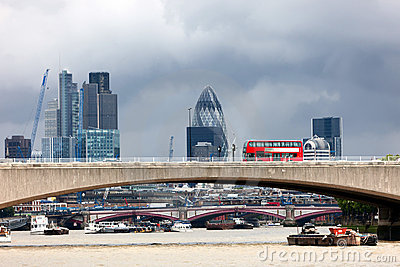 London Red Bus  Crossing The Thames.