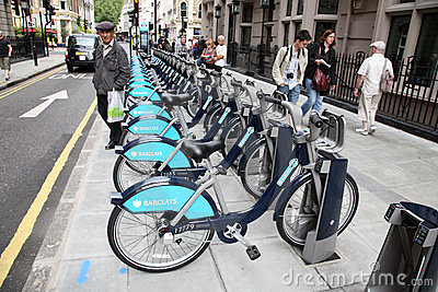 London s bicycle sharing scheme Editorial Stock Photo