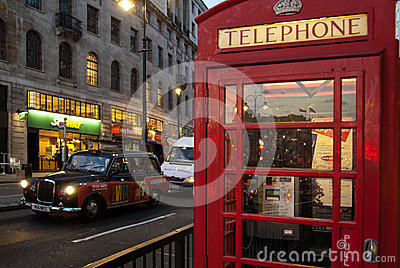 London s cab and telephone box Editorial Photography