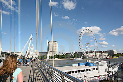 London s Golden Jubilee Bridge Editorial Image