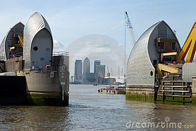 London s Thames Barrier and city of London.
