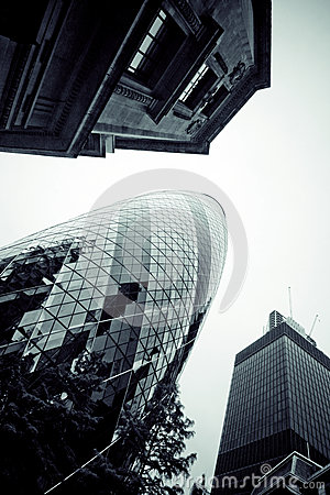 LONDON - SEPTEMBER 21: 30 St Mary Axe, Swiss Re, Gherkin Editorial Stock Photo